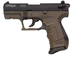 Walther Model P22 Compact Pistol WAN22007, 22 LR, 3.4 in, Mil Green Finish, Adj Sights, 10 Rd, DAO