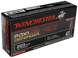 Winchester PDX1 223 Defender Ammunition S223RPDB, 223 Remington, PDX1 Defender, 60 GR, 2750 fps, 20 Rd/bx