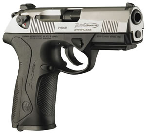 Beretta Model PX4 Storm Inox Pistol JXF4F51, 40 S&W, 4 in, Black Grip, Two-tones Stainless Finish, 14 + 1 Rd