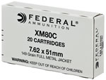 Federal XM Ammunition XM80C, 7.62 x 51mm, Full Metal Jacket, 149 GR, 20 Rd/bx
