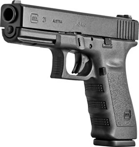 Glock Model G21SFRL Slim Frame PF2150203, 45 ACP, 4.61 in, Black Syn Grip, Black Finish, 13 + 1 Rd, Fixed Sights