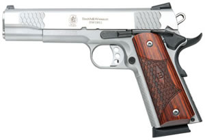 Smith & Wesson Model 1911 E Series Pistol 108482, 45 ACP, 5 in, Lam Wood Grip, Stainless Finish, 8 + 1 Rd