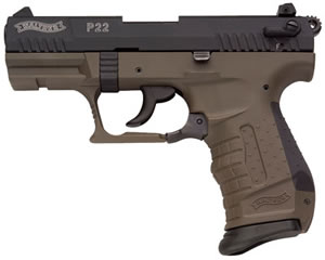 Walther Model P22 Military Pistol QAP22007, 22 Long Rifle, 3.4 in, Black Panel Grip, Green/Black Finish, 10 + 1 Rd