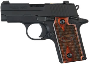 Sig Sauer Model P238 Gambler Pistol 238380DMH, 380 ACP, 2.7 in, Rosewood Grip, Black Finish, 6 + 1 Rd