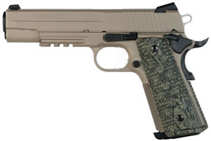 Sig Sauer 1911 Scorpion Pistol 1911R45SCPN, 45 ACP, 5 in, Hogue Custom G10 Grip, FDE Cerakote Finish, 8 + 1 Rd, Night Sights