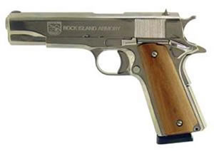 Armscor Rock Island 1911 Pistol 51433, 45 ACP, 5 in, Wood Grips, Nickel Finish, Fixed Sights, 8 Rd
