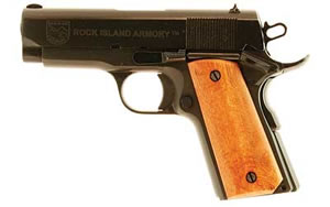 Armscor Rock Island Model 1911 Compact Pistol 54183, 45 ACP, 3.5 in, Plastic Grips, Parkerized Finish, Fixed Sights, 7 Rd