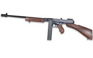 Auto Ordnance Thompson Model 1927A1 Deluxe Rifle T1B, 45 ACP, 16.5 in, Wood Stock, Blue Finish, Adj Sights, 30 Rd