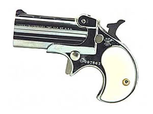 Cobra Derringer C22CP, 22 LR, 2.4 in, Pearl Grips, Chrome Finish, Fixed Sights, 2 Rd