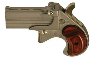Cobra Big Bore Derringer CB38SR, 38 Special, 2.75 in, Rosewood Grips, Nickel Finish, Fixed Sights, 2 Rd