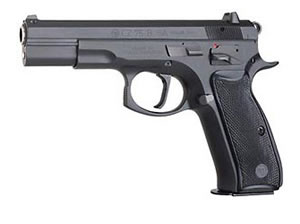 CZ Model 75 Pistol 01151, 40 S&W, 4.7 in, Plastic Grips, Black Finish, Fixed Sights, 10 Rd, 2 Mags, SAO