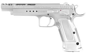 EAA Witness Gold Pistol 600085, 40 S&W, 6 in, Alum Grips, Chrome Finish, Adj Sights, 15 Rd, Ported
