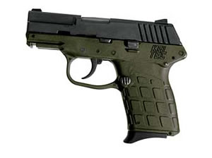 Kel-Tec Model PF-9 Pistol PF-9GN, 9 mm, 3.1 in, OD Green Grips, Blue Finish, Fixed Sights, 7 Rd