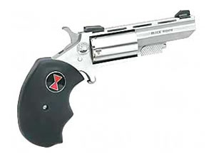 NAA Black Widow Revolver NAA22BWCA, 22WMR, 2 in, Rubber Grips, Stainless Finish, Adj Sights, 5 Rd