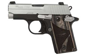 Sig Sauer Model P238 Pistol 238M380BG, 380ACP, 2.72 in, Black Wood Grips, Duo Tone Finish, Fixed Night Sights, 6 Rd