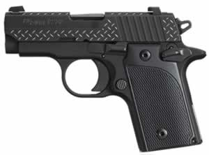 Sig Sauer Model P238 Diamond Plate Pistol 238380BDPAMBI, 380 ACP, 2.7 in, G10 Comp Grip, Black Finish, 6 + 1 Rd, Amb Safety