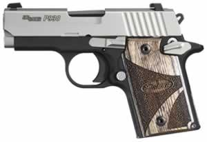 Sig Sauer Model P938 SAS Pistol 9389SASAMBI, 9 mm, 4.4 in, Brown Goncalo Chkd Wood Grip, 2 Tone Finish, 6 + 1 Rd