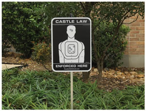 Ready To Defend STS-3S Castle Law Enforced Here Silhouette Yard Sign