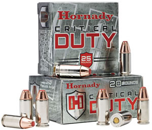Hornady Critical Duty Ammunition 90236, 9mm, Flex-Lock, 135 GR, 920 fps, 25 Rd/bx