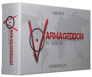 Nosler Varmageddon Ammunition 65110, 204 Ruger, Flat Base Hollow Point, 32 GR, 4000 fps, 20 Rd/bx