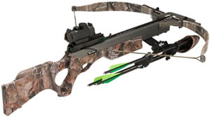 Excalibur 6756 Vortex Multi-Red Dot Crossbow Package, 200 lbs Draw, 330 FPS, Multi-Red Dot Sight, 4 Carbon Arrows, Quiver, Realtree Camo Finish