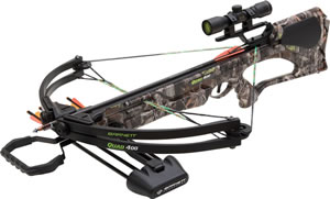 "Barnett 78032 Quad 400 Crossbow Package, 150 lbs Draw, 345 FPS, 3x32 Scope, Quiver, (3) 22"" Arrows Included, Camo Finish"