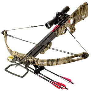 PSE 01159 Copperhead TS Crossbow Package, 150 lbs Draw, 260 FPS, 4x32 Multi-Reticle Scope, Quiver, 4 Arrows, Camo Finish