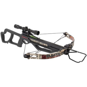 Parker Bow X305-MR Bushwacker 4x MR Crossbow Package, 150 lbs Draw, 285 FPS, 4x Multi-Reticle Scope, Quiver, 4 Arrows, Camo Finish