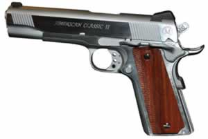 American Classic Government 1911 Pistol AC45G2C, 45 ACP, 5 in, Chkd Hardwood w/Diamond Cut Grip, Hard Chrome Finish, 8 + 1 Rd