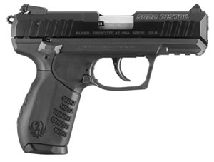 Ruger Model SR22 Rimfire Pistol 3600, 22 LR, 3.5 in, Black Poly Grip, Black Finish, 10 + 1 Rds