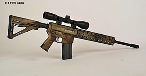2 Vets Blackout 300 Rifle 2VA300ATAU, 300 AAC Blackout, 16 in, Semi-Auto, Magpul CTR Stock, ATAC Camo Finish, 30+1 Rds