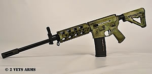 2 Vets Blackout 300 Rifle 2VA300ATFG, 300 AAC Blackout, 16 in, Semi-Auto, Magpul CTR Stock, ATAC Green Finish, 30+1 Rds