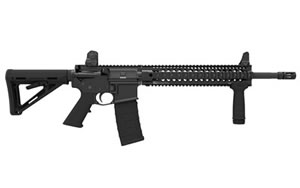 Daniel Defense V5 Rifle DA08165NS, 300 AAC Blackout, 16 in, Magpul MOE Stock, Black Finish, Flat Top, 30 Rd, Quad Rail, New Version w/Rail, Flash Supp
