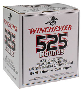 Winchester Ammo 22LR525HP Xpediter, 22 Long Rifle Ammunition, Copper Plated Hollow Point, 36 Grain, 5250 Rounds, Case of 10 Boxes
