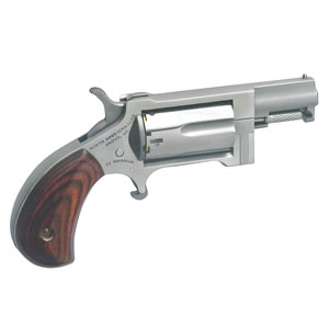 NAA Sidewinder Mini Revolver NAASWC, 22 Long Rifle/22 Magnum, 1 1/8 in, Rosewood Grip, Stainless Finish, 5