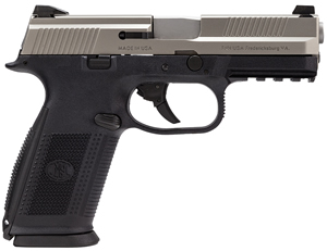 FN Herstal FNS-9 Pistol 66753, 9 mm, 4 in BBL, Double Action, Poly Grip, Stainless Slide/Bk Frame, 3-Dot Sights, No Manual Safety, 17+1 Rds