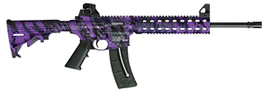 "Smith & Wesson M&P 15-22 Rifle 10041, 22 LR, 16.5"" Threaded, Blow-Back Action, 6-Pos CAR Stock, Purple Platinum/Black Finish, 25 + 1 Rd"