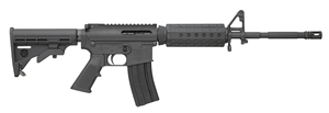 "Bushmaster Carbon 15 M4 Quad Rail Rifle 91036, 223 Rem/5.56 NATO, 16"" Contour BBL, Semi Auto, 6-Pos Stock Assembly, Black Finish, 30 + 1 Rd"