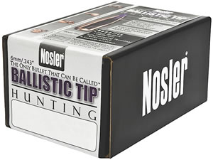 Nosler 24095 Spitzer Hunting Ballistic Tip 6MM Cal 95 Grain 50/Box, (Not Loaded)