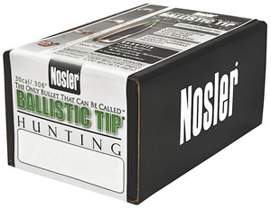 Nosler 30150 Spitzer Hunting Ballistic Tip 30 Cal 150 Grain 50/Box, (Not Loaded)