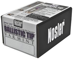 Nosler 39565 Spitzer Varmint Ballistic Tip 6MM Cal 55 Grain 250/Box, (Not Loaded)