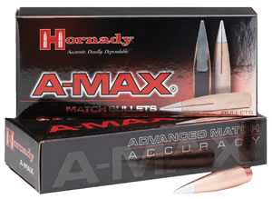 Hornady 26332 Rifle Bullet 6.5MM Cal 140 Grain A-Max 100/Box, (Not Loaded)
