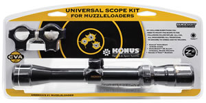 CVA Muzzleloader Scope Kit AA2002, 3-9x, 32mm Obj, 1 in Tube Dia, Blue