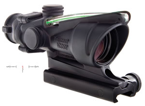 Trijicon TA31RCOM150C, ACOG Scope, Chevron w/ Target Reference System Reticle, 4x 32mm Objective, Black Finish, Green
