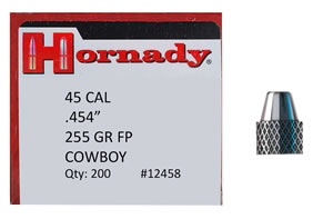 Hornady 12458 Lead Pistol Bullets 45 Cal 255 Grain Flat Point Cowboy 200/Box, (Not Loaded)