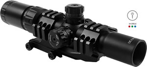 Aim Sports JTHR1 Recon CQB Scope, Tri-Illuminated Mil-Dot Reticle, Locking Turrets,1.5-4x 30mm Objective, Black Finish