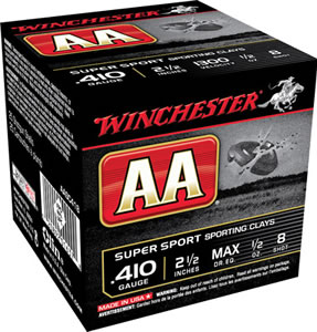 Winchester AA SuperSport Sporting Clays AASC418, 410 Gauge, 2 1/2 in, 1/2 oz, 1300 fps, #8 Lead Shot, 25 Rd/bx, Case of 10 Boxes