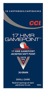 CCI Rimfire Ammunition 0052, 17 HMR, Jacketed Hollow Point, 20 GR, 2375 fps, 50 Rd/bx