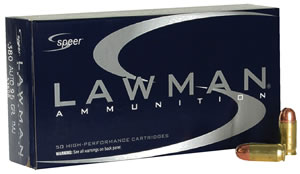 Speer Lawman Handgun Ammunition 53608, 380 ACP, Full Metal Jacket, 95 GR, 950 fps, 50 Rd/bx