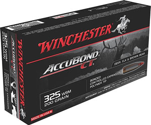 Winchester Supreme Centerfire Rifle Ammunition S325WSMCT, 325 WSM, AccuBond CT, 200 GR, 2950 fps, 20 Rd/bx